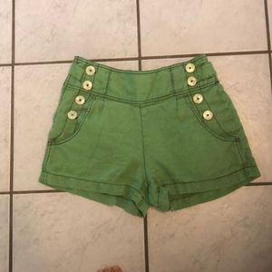 Anthropology lime green high waisted shorts